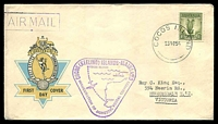 Lot 3956:1955 use of 1/- Lyre on inaugural official FDC to Vic, cancelled with 'COCOS ISLAND/23NO55' (A1), with violet cachet (A1) and violet boxed 'AIR MAIL' (B1) in TLC.