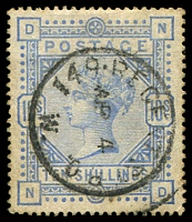 Lot 3556:1883-84 QV High Values SG #183a 10/- pale ultramarine, a bit aged, Cat £550.