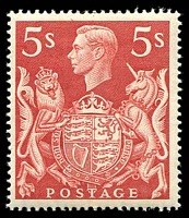 Lot 23078:1939-48 KGVI High Values SG #477 5/- red, Cat £20.