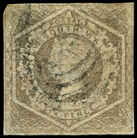 Lot 886:1854-59 Imperf Large Diadems Wmk Double-Lined Numeral SG #96a 6d greyish brown wmk 8, TLC rounded, otherwise 4 close margins, Cat £110, light cancel