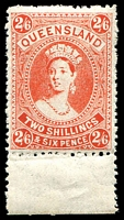 Lot 1501:1907-11 Large Chalons Wmk Crown/A SG #309 2/6d pale dull vermilion marginal single, (BW #Q55B), Cat £42.