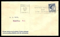 Lot 8131 [1 of 2]:Adelaide: square datehead machine of 18OCT/1962 with 'UNITED NATIONS/DAY/24TH OCTOBER' slogan on 5d blue QEII on cover.  PO 10/4/1837.