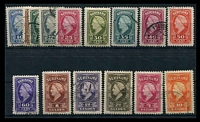 Lot 28368:1945 Wilhelmina SG #322-36 complete set of 15, 30c is mint, Cat £75.