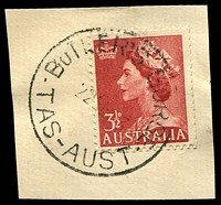 Lot 1382:Butlers Gorge: - 'BUTLER'S GORGE/22SE53/TAS-AUST' on 3½d red QEII.  PO 13/1/1941; closed 16/9/1958.