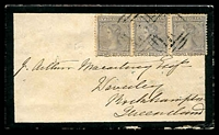 Lot 2236 [1 of 2]:1867 (May 29) use of 2d grey Laureate wmk 8 strip of 3 (SG #117) on Macartney mourning cover from Sunbury to Rockhampton.