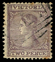 Lot 1869:1863-74 Laureates DLR Paper Wmk Single-Lined Numeral SG #109da 2d rose-lilac P13x12 [H4], couple of toned perfs. [Kellow describes this perf as very rare.]