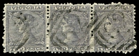 Lot 1634:1863-74 Laureates DLR Paper Wmk Single-Lined Numeral SG #109e 1d grey P12 strip of 3 [E4,F6,D7], Cat £39+, cancelled with '62' of Meredith.