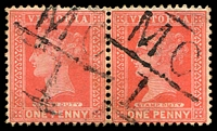 Lot 2000:1101: 2 strikes of 'MC/1' on QV 1d red pair.  Allocated to Musk Creek-PO c.-/3/1879; renamed Musk PO 31/3/1937.
