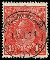 Lot 3372:Argyle: - 'WESTERN AUSTRALIA/23MY22/ARGYLE' (inscriptions read outwards), on 1½d red KGV with Flaw joins right member of left fleur-de-lis to curved line below etc etc [16R59].  RO 1/6/1909; PO 8/10/1910; closed 12/12/1975.
