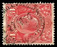 Lot 3520:No. 1 State Mill Via Manjimup: - 'NO 1 [STATE] MILL VIA MANJIMUP/22AP26/W.A.' on 1½d red KGV.  PO 8/2/1915; renamed Deanmill PO 8/11/1936.