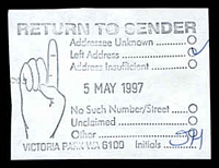 Lot 3618:Victoria Park: - unframed 'RETURN TO SENDER/.../5MAY1997/.../VICTORIA PARK WA 6100 Initials' on piece.  PO 1/12/1898.