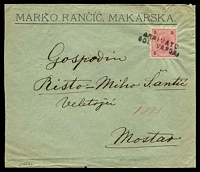 Lot 26503 [1 of 2]:1891 (May 20) cover from Makarska to Mostar, 3k cancelled with 'ARRIVATO/COL VAPORE' (C1), backstamps of Mekovic and KuK 18 Mostar. On written up page.