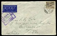 Lot 4955:Field Post Office double-circle 'FIELD [POST OFFICE]E/*/7AP/41/172 (British FPO in Middle East) on 9d Platypus on air cover to Sydney, double-boxed 'PASS[ED] BY UN