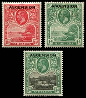 Lot 3653 [2 of 2]:1922 'ASCENSION' On St. Helena SG #1-6,9 ½d to 8d, plus 1/- black/green (creased), Cat £106.