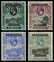 Lot 3653 [1 of 2]:1922 'ASCENSION' On St. Helena SG #1-6,9 ½d to 8d, plus 1/- black/green (creased), Cat £106.