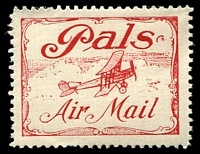 Lot 637:1920 Pals Label AAMC #51c in red, Cat $200.