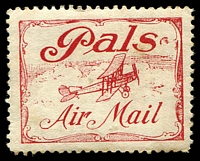 Lot 874:1920 Pals Label AAMC #51c in red, Cat $200.