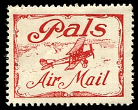 Lot 5191:1920 Pals Label AAMC #51c in red, Cat $200.