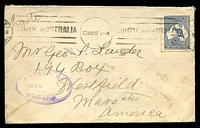 Lot 4558:1917 (Nov 27) use of 2½d Roo (1st Wmk) on cover from Adelaide to USA, violet triple-oval 'PASSED BY/4TH M.D./CENSOR' handstamp on face.