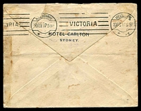 Lot 986 [2 of 2]:1917 (Feb 19) use of 1d red KGV on Carlton Hotel cover from Sydney to a passenger on a P&O ship in Melbourne, redirected to Adelaide. 'PER COMMANDER'S BAG.' handstamp on face, The cover is a little soiled but we have not seen this handstamp before.