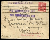 Lot 986 [1 of 2]:1917 (Feb 19) use of 1d red KGV on Carlton Hotel cover from Sydney to a passenger on a P&O ship in Melbourne, redirected to Adelaide. 'PER COMMANDER'S BAG.' handstamp on face, The cover is a little soiled but we have not seen this handstamp before.