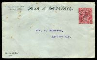 Lot 482:1914-16 1d Red KGV Sideface BW #ES15 Die 2 on Shire of Heidelberg cover, a bit spotty, Cat $100, 1914 (Dec 1) use.