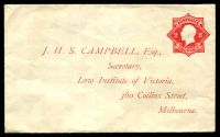 Lot 3714:1922-23 2d Red KGV Star With 'POSTAGE' BW #ES61 on Law Institute of Victoria envelope, Cat $200. Unused.