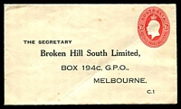 Lot 873:1928-30 1½d Red KGV Oval BW #ES69 on Broken Hill South Ltd cover, couple of spots, Cat $300. Unused.