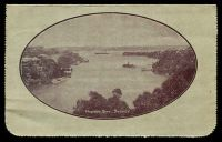 Lot 466 [2 of 2]:1914-18 1d KGV Die 1 Sideface BW #LC18(79) P12½ purple-brown shade framed oval view 'MOSMON BAY, SYDNEY' on grey surfaced card, off-white inside, Cat $80. 1917 use from Lancefield.