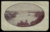 Lot 4042 [2 of 2]:1914-18 1d KGV Die 1 Sideface BW #LC18(79), Die 1 P12½ purple-brown shade framed oval view 'MOSMON BAY, SYDNEY' on grey surfaced card, off-white inside, minor tones & soiling, Cat $80. 1917 use from Lancefield.