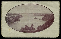 Lot 629 [2 of 2]:1914-18 1d KGV Die 1 Sideface BW #LC18(79), Die 1 P12½ purple-brown shade framed oval view 'MOSMON BAY, SYDNEY' on grey surfaced card, off-white inside, minor tones & soiling, Cat $80. 1917 use from Lancefield.