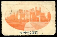 Lot 852 [2 of 2]:1920-22 2d Orange KGV Sideface BW #LC45(57B) P10 unrecorded framed oval view 'GOVERNMENT HOUSE/SYDNEY, N.S.W.' on off-white surfaced card, grey inside, pinholes in corner, Cat $300. 1921 use from Melbourne.