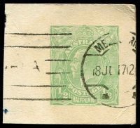 Lot 465:1914-16 ½d Green KGV BW #PS5 cut-out presumable for Department of Defence, Cat $600. 1917 Use.