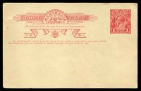 Lot 843:1916-18 1d Red KGV Sideface Two-Line Admonition BW #P28 Die 2 Type 1, Cat $100. Unused.