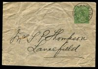 Lot 4408:1915-18 ½d Green KGV Sideface BW #W3 Cat $10. Part wrapper with very nice 1917 Lancefield cds.