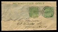 Lot 4305:1920 ½d Green KGV Sideface+½d Green KGV Sideface 'NEWSPAPER ONLY' BW #W9(3) setting 3, Cat $50. Part wrapper, 1921 use from Lancefield.