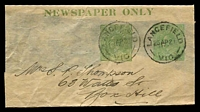 Lot 4410:1920 ½d Green KGV Sideface+½d Green KGV Sideface 'NEWSPAPER ONLY' BW #W9(3) setting 3, Cat $50. Part wrapper, 1921 use from Lancefield.