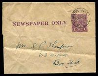 Lot 3415:1922-24 1d Violet KGV Sideface 'NEWSPAPER ONLY' BW #W11(1) on thin glazed paper, Cat $20. Complete wrapper, 1922? use from Box Hill.