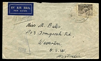 Lot 1037:2nd Bde. H.Q.P.O. '2ND BDE.H.Q.P.O./8JY41/W.2.' (LRD - Khassa, Palestine) on 9d Platypus on air cover to NSW, triangle 'PASSED