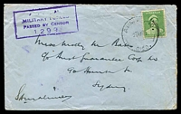 Lot 1041:Army P.O. 'ARMY P.O./21AP42/0120.' (ERD - Merredin WA) on 1d QE on cover to Sydney, boxed '[AUSTRALIAN]/MILITARY [FORCES]