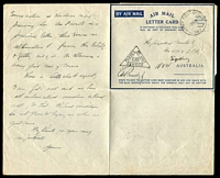 Lot 854 [3 of 3]:Army Post Office 'ARMY POST OFFICE/22SE42/067.' (Ceylon) on stampless air letter to Sydney, fine triangle 'PASSED BY UNIT/C100/CENSOR' on face. [Rated 500.]