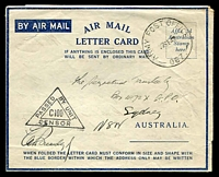 Lot 854 [1 of 3]:Army Post Office 'ARMY POST OFFICE/22SE42/067.' (Ceylon) on stampless air letter to Sydney, fine triangle 'PASSED BY UNIT/C100/CENSOR' on face. [Rated 500.]
