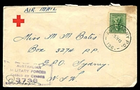 Lot 1043:Aust Army P.O. 'AUST ARMY P.O./25JY43/196.' (Tolga, Qld), on 4d Koala, on Red Cross cover by air to Sydney, with boxed 'AUSTRALIAN/MILITARY FORCES/PASSED BY CENSOR/3738' (B1) in blue.