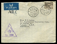 Lot 1164:F.P.O. 'F.P.O./4JUL41.8-9■/E.609' (Hill 69 Camp, Palestine), on 9d Platypus on cover to Sydney, with violet triangle 'PASSED BY/CENSOR/[crown]/No. 1746' (A1) in purple, some light toning. [Rated 175 by Proud]