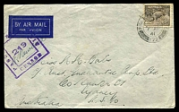 Lot 1166:Field Post Office double-circle 'FIELD [POST OFFICE]E/*/7AP/41/172 (British FPO in Middle East) on 9d Platypus on air cover to Sydney, double-boxed 'PASS[ED] BY UN