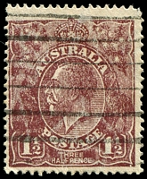 Lot 277:1½d Brown Die I: [4L31] Deep notch at right end of bottom frame