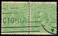 Lot 1193:½d Green Comb Perf - BW #63(4)q [4R40] Barb on fraction bar at right left unit in pair, Cat $35.