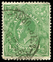 Lot 1196:½d Green Comb Perf - BW #63(6)k [6R26] White flaw on last A of AUSTRALIA, a little wrinkled, Cat $35.