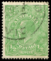 Lot 140:½d Green Comb Perf - BW #63(4)q [4R40] Barb on fraction bar at right slight crease, Cat $35.