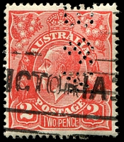 Lot 2152:2d Red Die I - BW #96(12)k [12R28] Flaw on 2nd A of AUSTRALIA, perf 'B&N' of Buckley & Nunn, Cat $35.